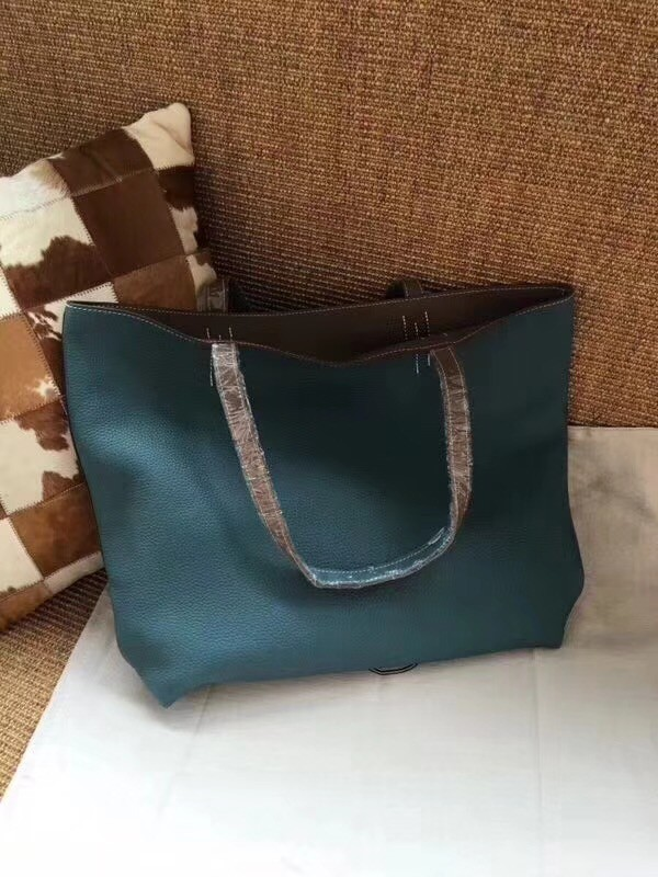 Hermes Shopping Bag Totes Clemence H036 blue&grey