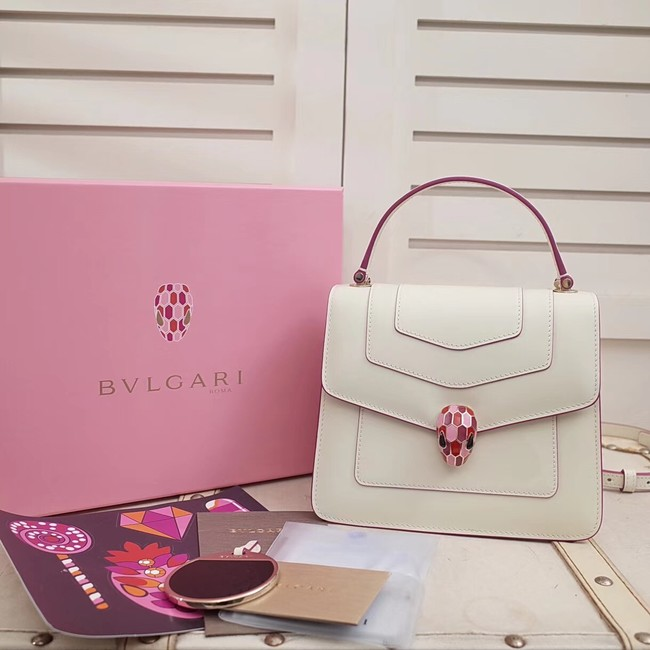 BVLGARI Serpenti Forever leather flap bag 286999 white
