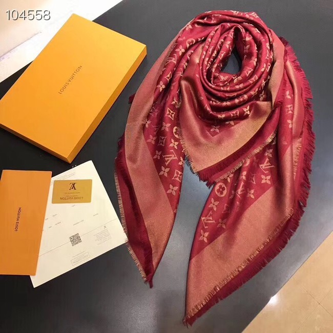 Louis vuitton Cashmere scarf Monogram flower pattern 97714 red