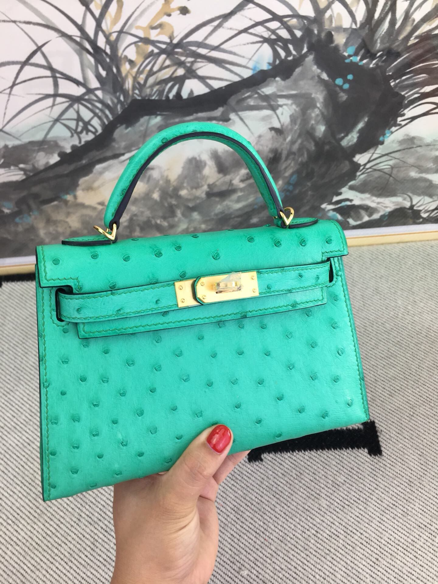 Hermes original ostrich leather mini kelly bag K001 green