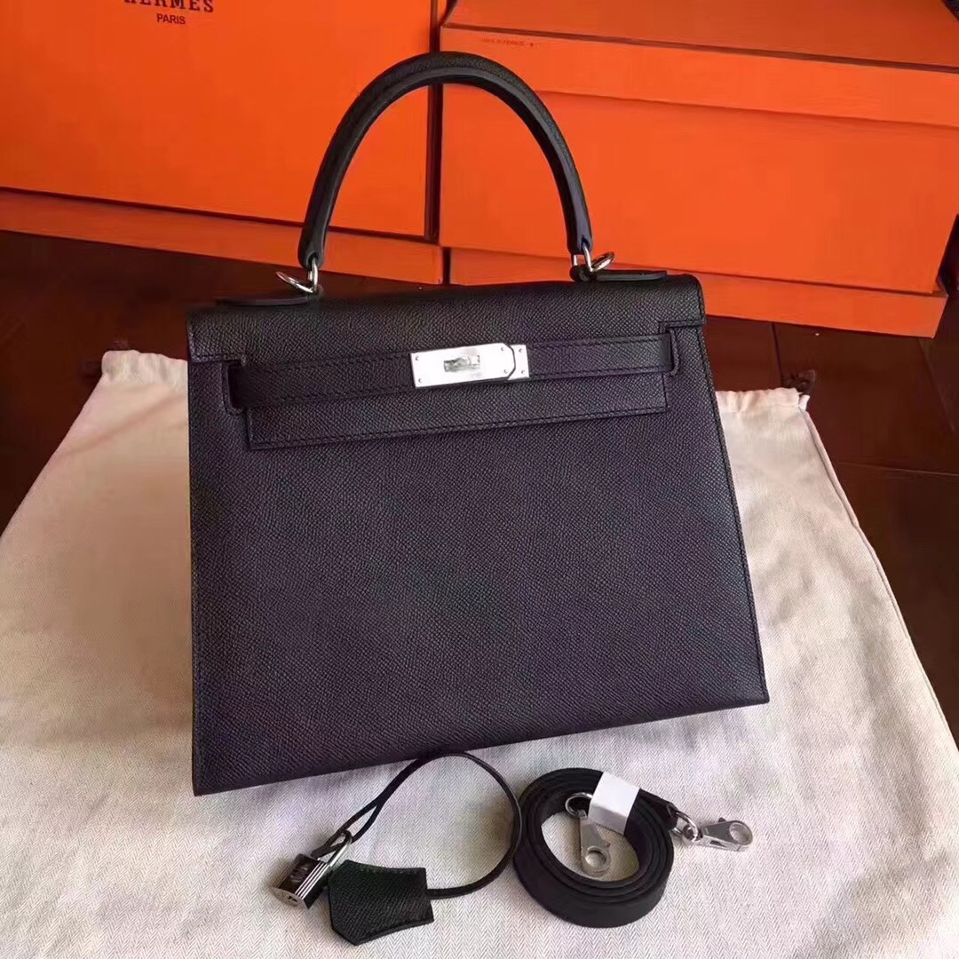 Hermes Kelly 32cm Shoulder Bags Original espom leather black