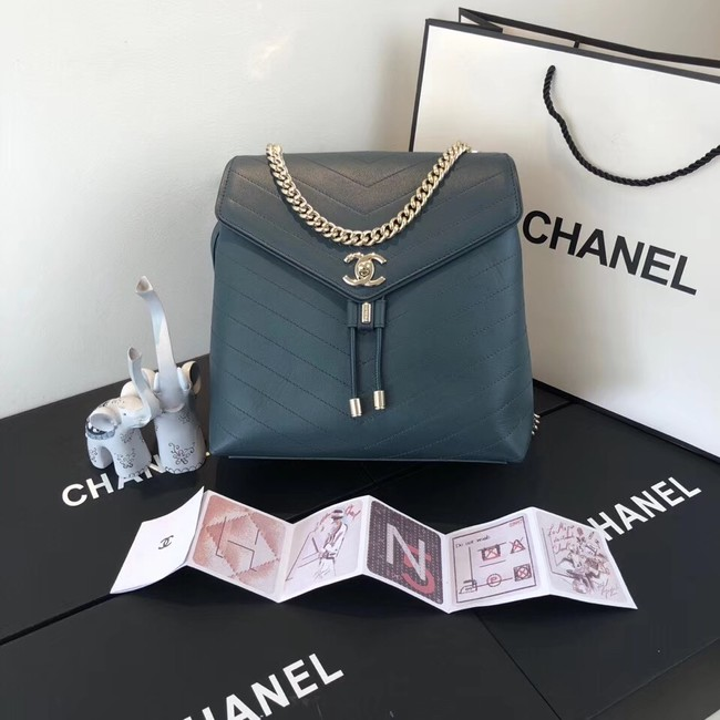Chanel backpack Calfskin & Gold-Tone Metal A57555 blue
