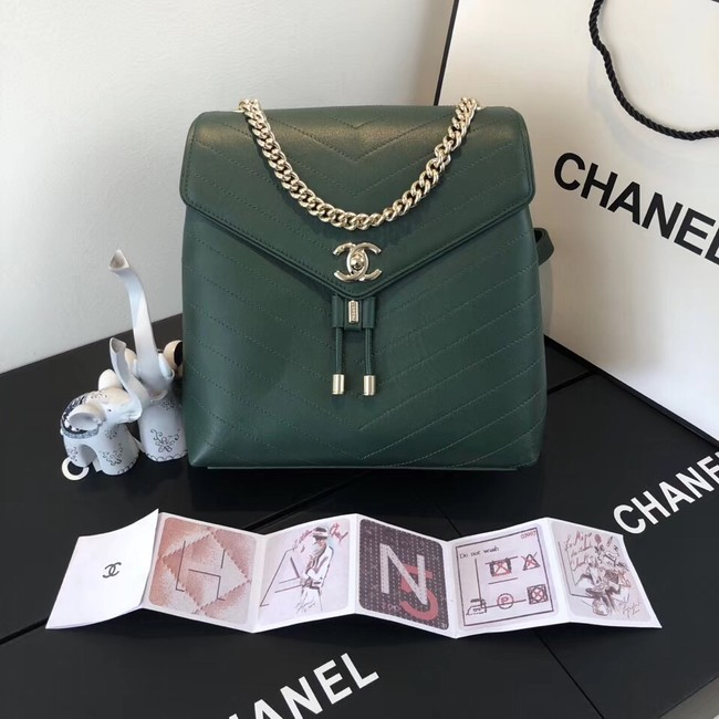 Chanel backpack Calfskin & Gold-Tone Metal A57555 green