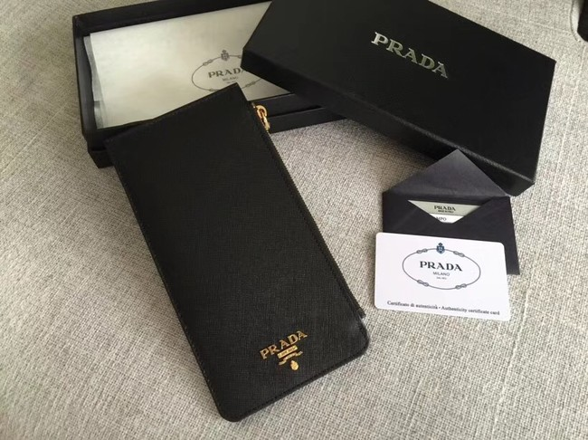 Prada Saffiano Leather Business Card Holder 1M1213 black