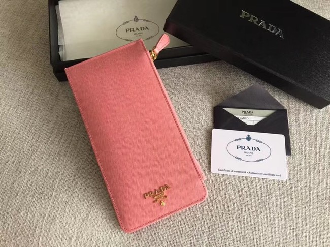 Prada Saffiano Leather Business Card Holder 1M1213 pink