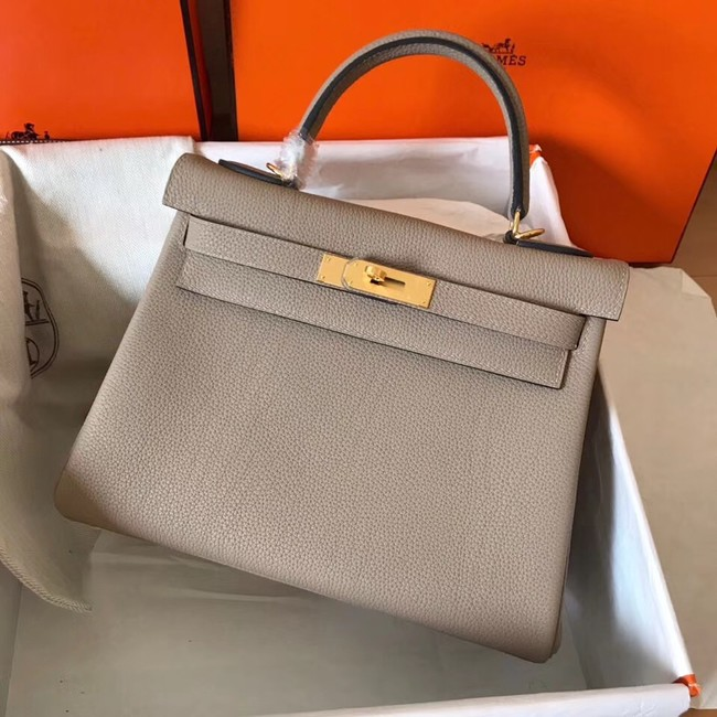Hermes original Togo leather kelly bag KL320 grey