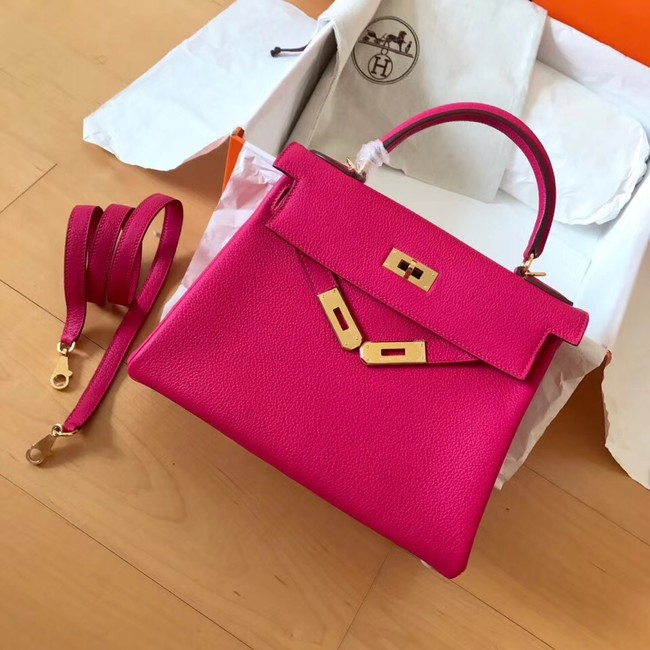 Hermes original Togo leather kelly bag KL320 rose