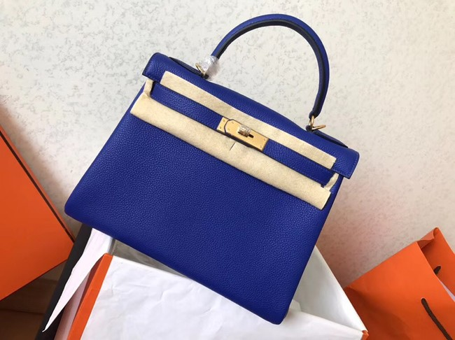 Hermes original Togo leather kelly bag KL320 blue