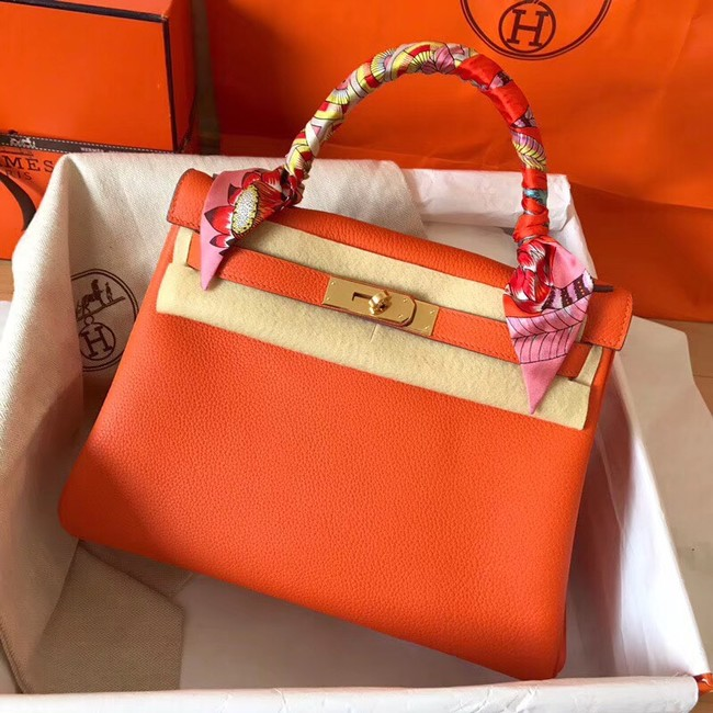 Hermes original Togo leather kelly bag KL320 orange
