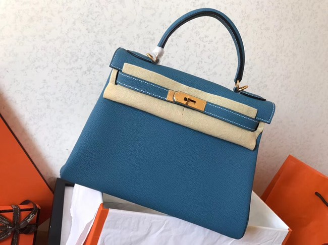 Hermes original Togo leather kelly bag KL320 sky blue
