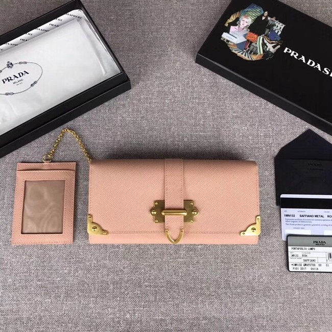 Prada Cahier Saffiano Leather Wallet Large 1MH132 apricot