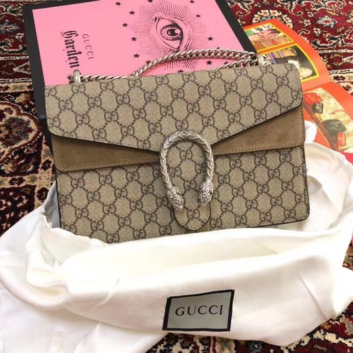 Gucci Medium Dionysus GG Canvas Shoulder Bag 400249 Taupe