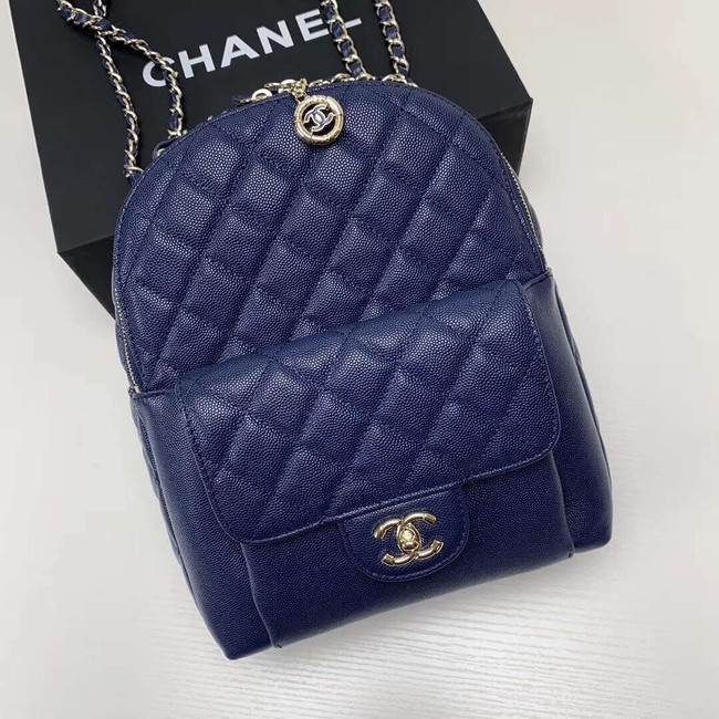 Chanel Grained Calfskin & Gold-Tone Metal backpack AS0004 blue