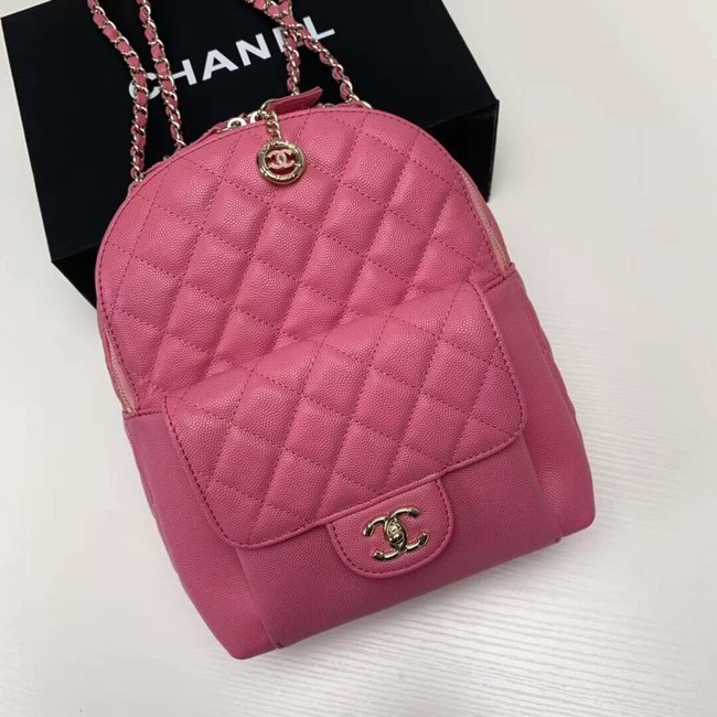 Chanel Grained Calfskin & Gold-Tone Metal backpack AS0004 rose