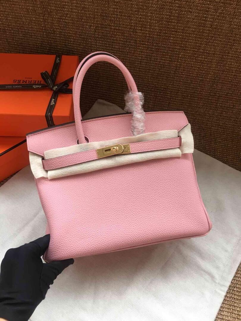Hermes Birkin 35CM Tote Bags Togo Leather Pink Golden