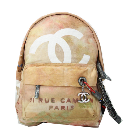 Chanel Graffiti Printed Canvas Backpack A92353 Apricot