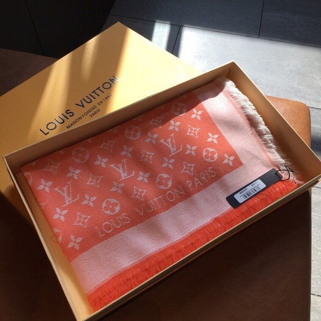Louis Vuitton MONACO SQUARE Monogram flower pattern silk M71151 ORANGE