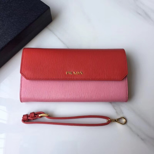 Prada leather mini-bag 1DF003 pink&red