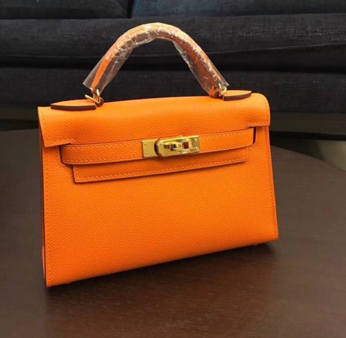 Hermes Kelly 20cm Tote Bag Original Leather KL20 orange