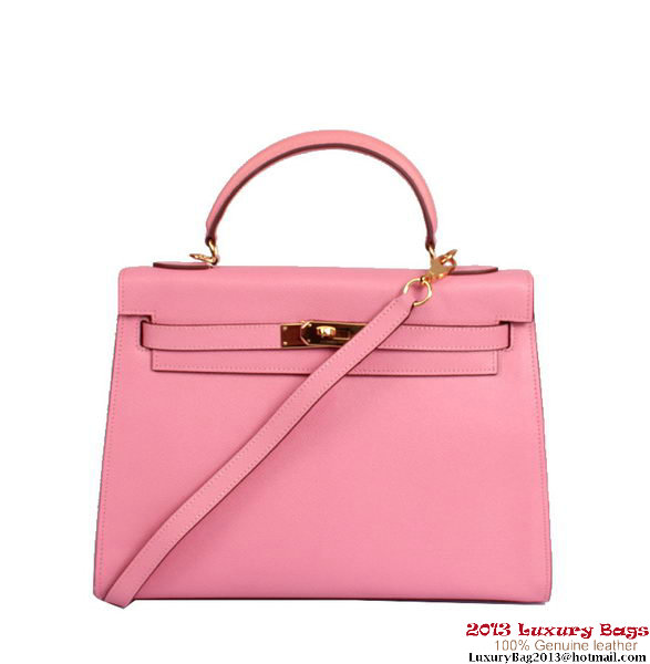 Hermes Kelly 32cm Top Handle Bag Pink Togo Leather Gold