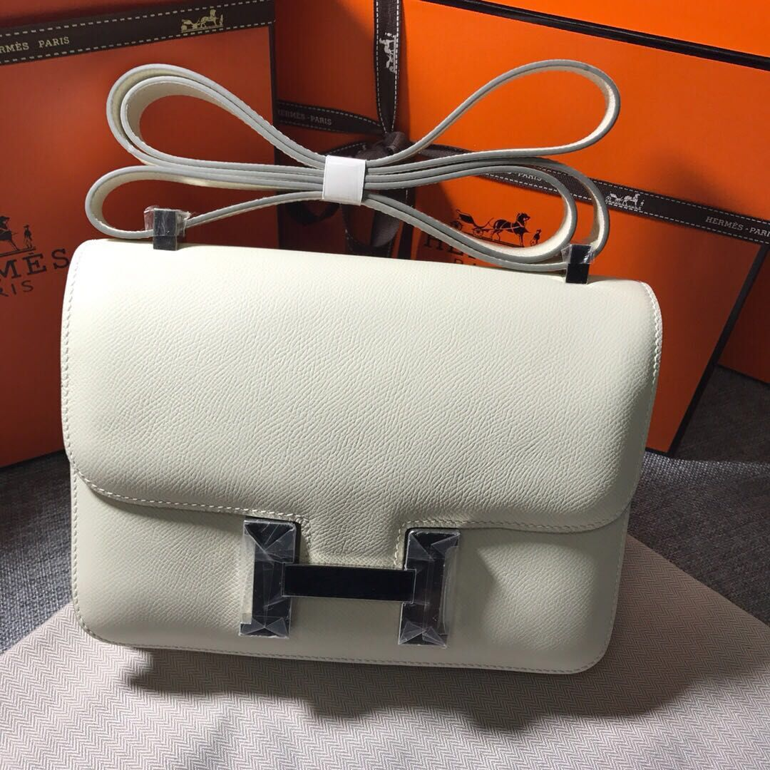 Hermes Constance Bag Calfskin Leather H9999 White Silver