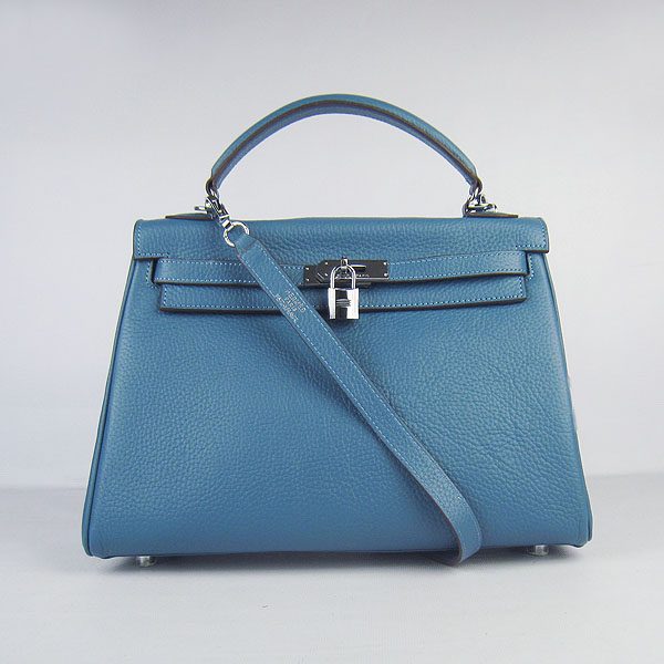 Hermes Kelly 32cm Togo Leather Bag Blue 6108 Silver