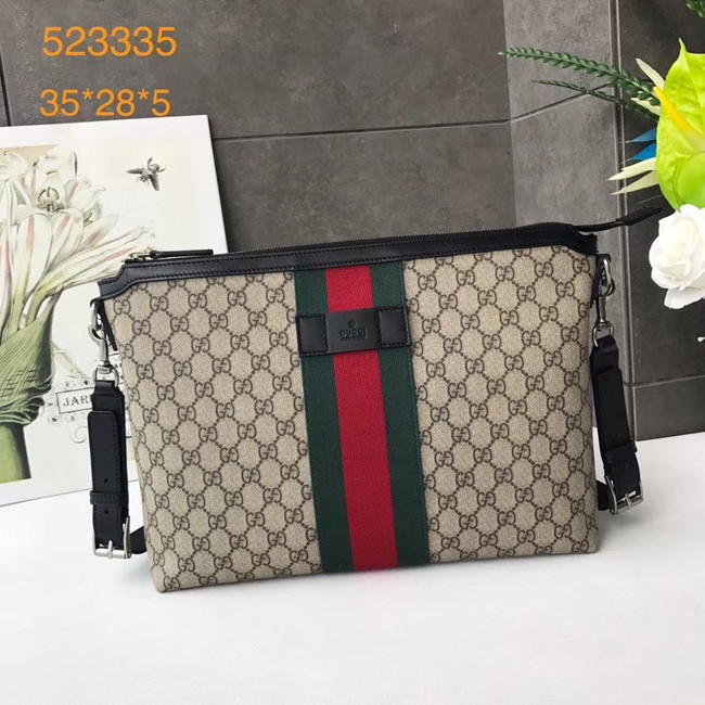 Gucci GG Supreme canvas shoulder bag 523335 apricot