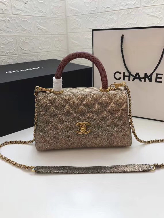 Chanel Small Flap Bag with red Top Handle A92990 gold