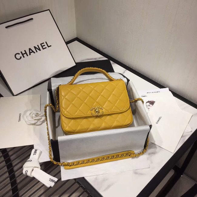Chanel flap bag leather & Gold Metal AS0970 yellow