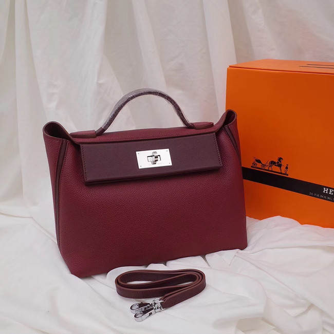 Hermes Kelly togo Leather Tote Bag H2424 Burgundy