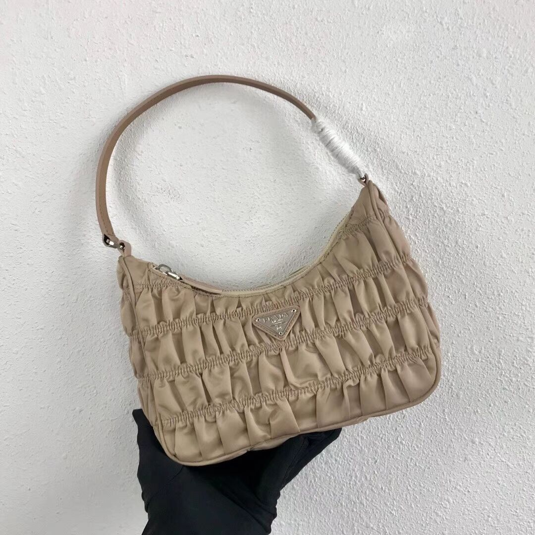 Prada Nylon and Saffiano leather mini bag 1NE204 Apricot