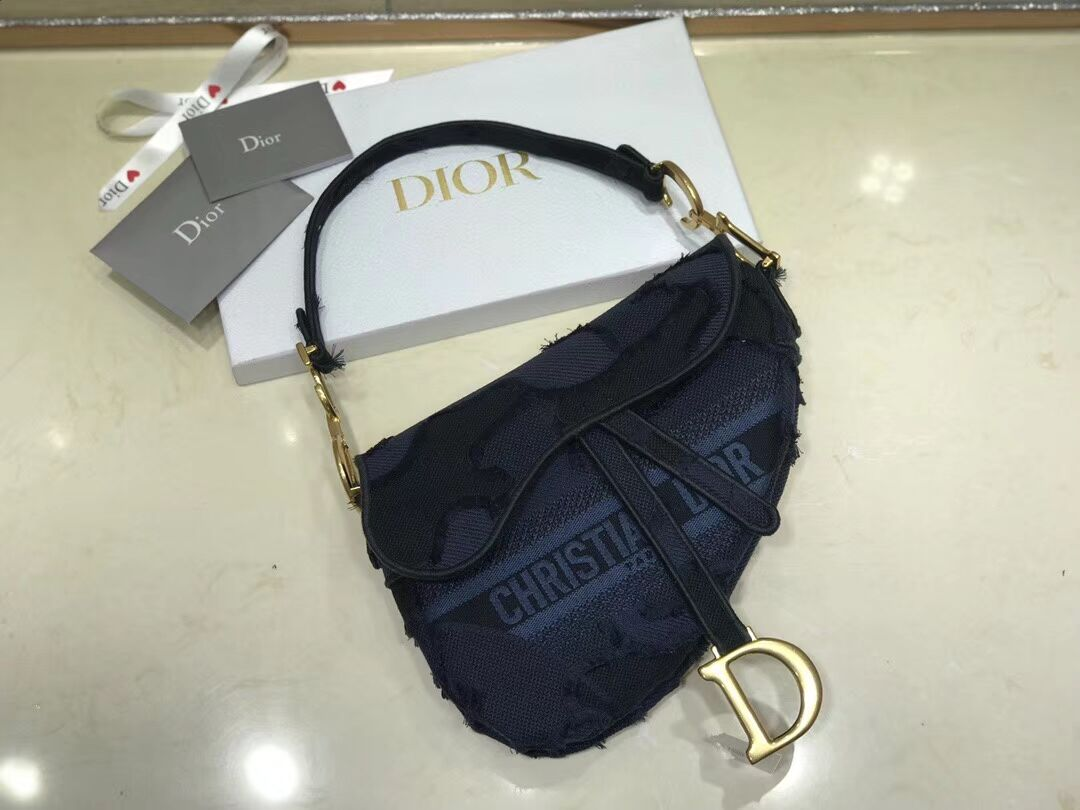 DIOR BLUE SADDLE CAMOUFLAGE EMBROIDERED CANVAS BAG M0446C