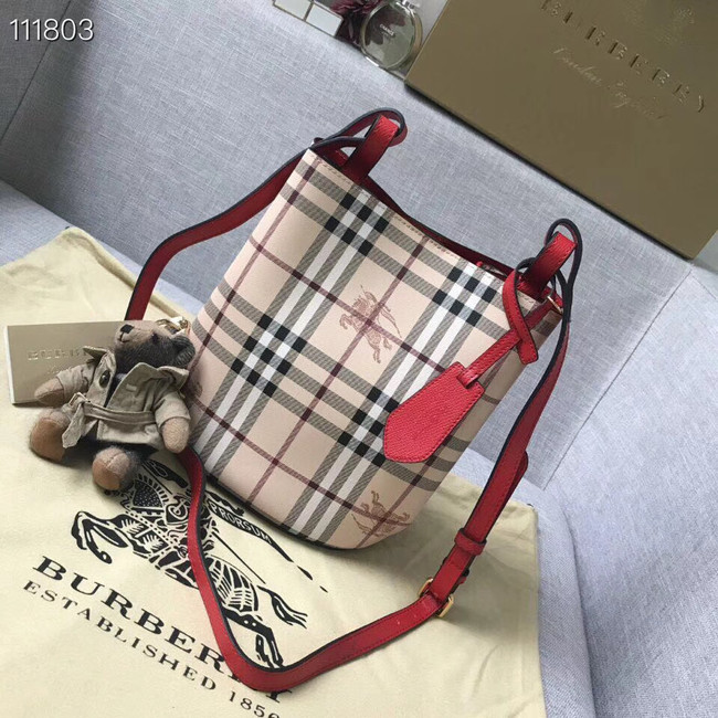 BURBERRY Banner small vintage check and leather tote Bag 1581 red