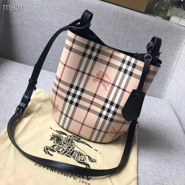 BURBERRY Banner small vintage check and leather tote Bag 1581 black