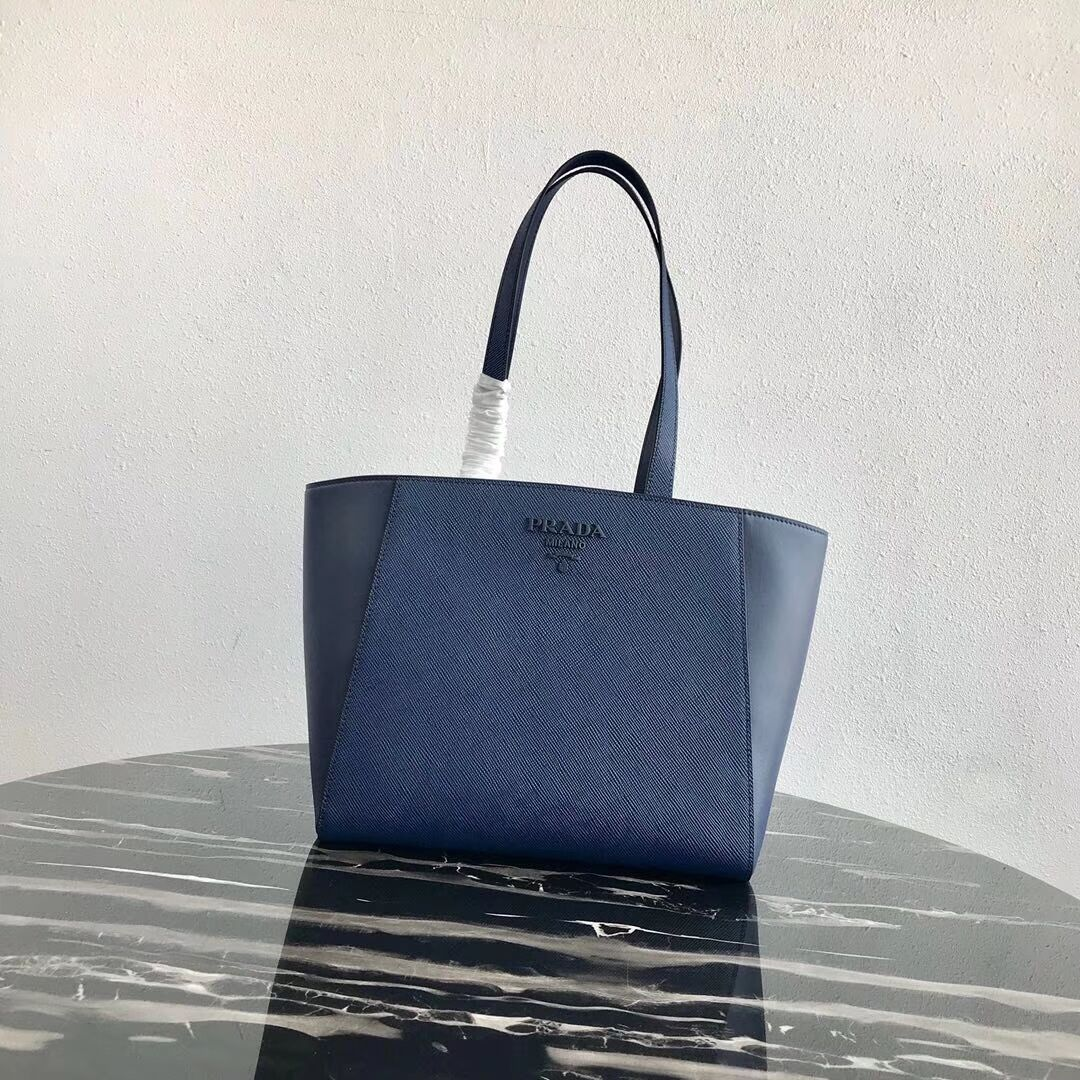 Prada Embleme Saffiano leather bag 1BG288 blue