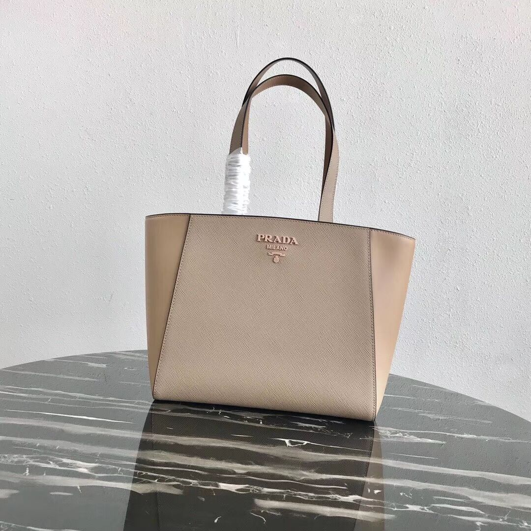 Prada Embleme Saffiano leather bag 1BG288 Apricot