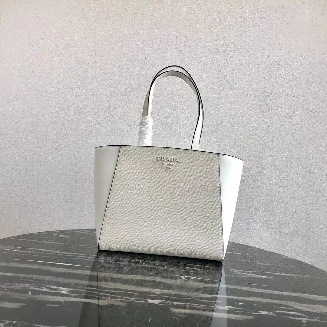 Prada Embleme Saffiano leather bag 1BG288 white