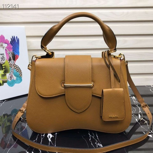 Prada Embleme Saffiano leather bag 1BN005 tan