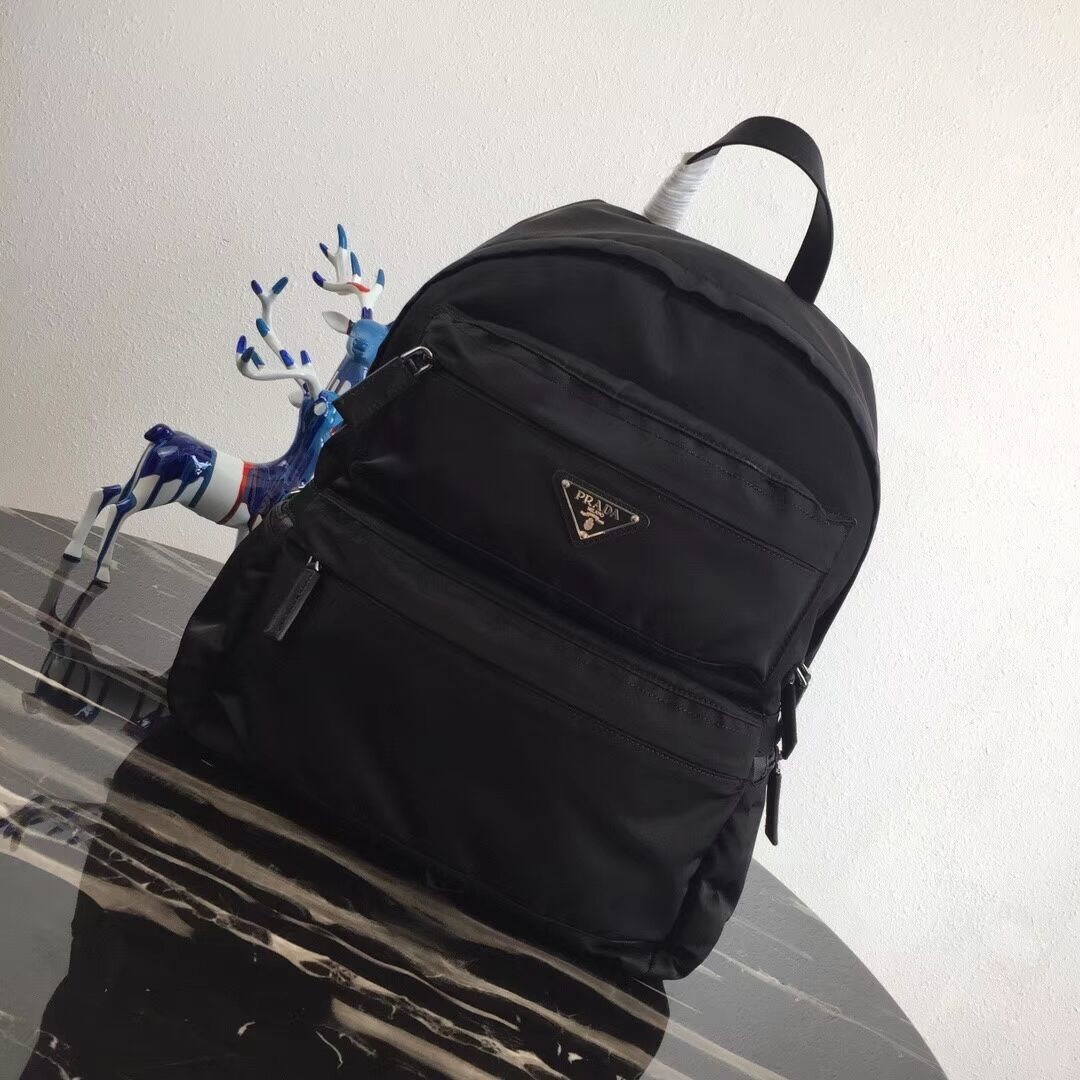 Prada Printed technical fabric backpack 2VZ025 black