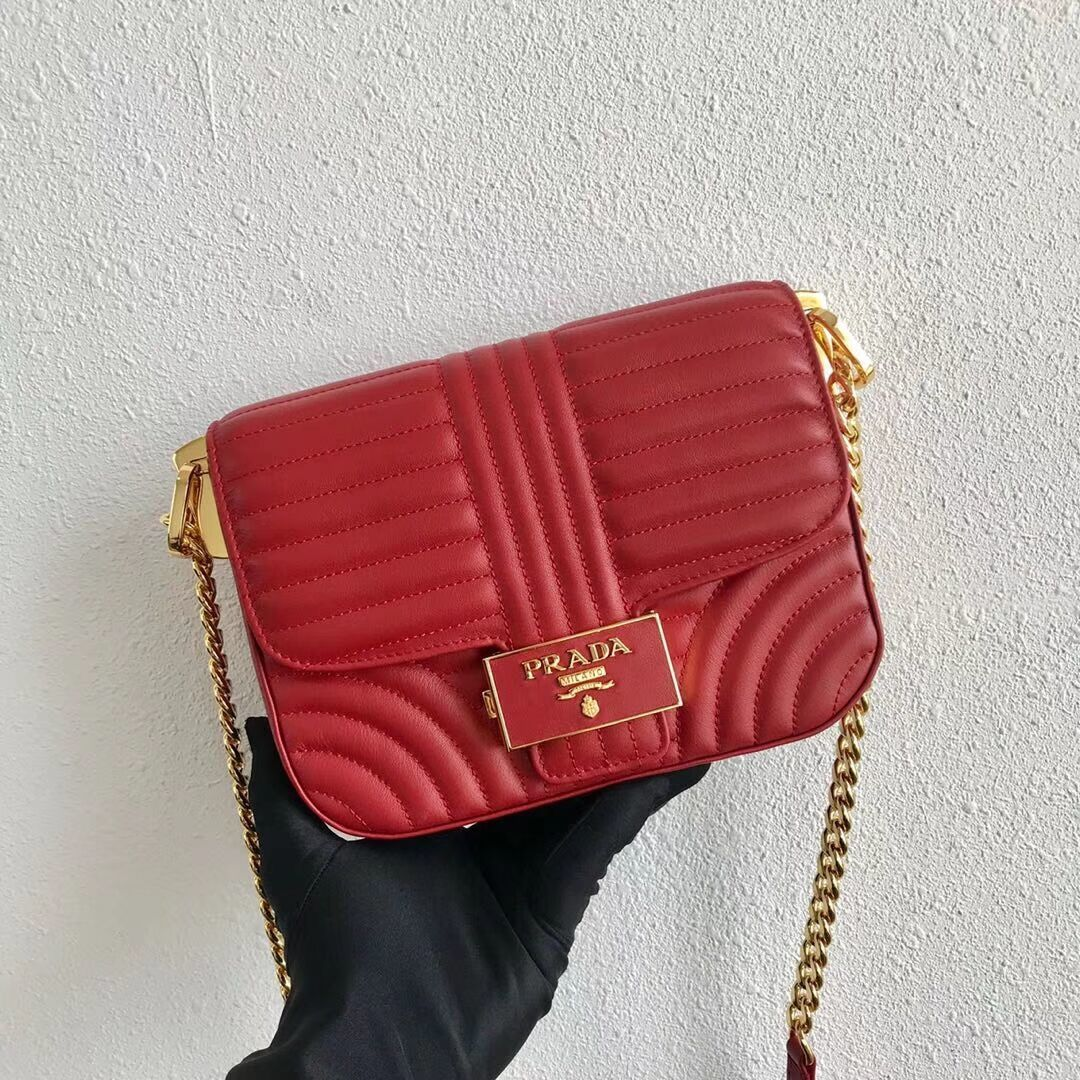 Prada Diagramme leather shoulder bag 1BD217 red