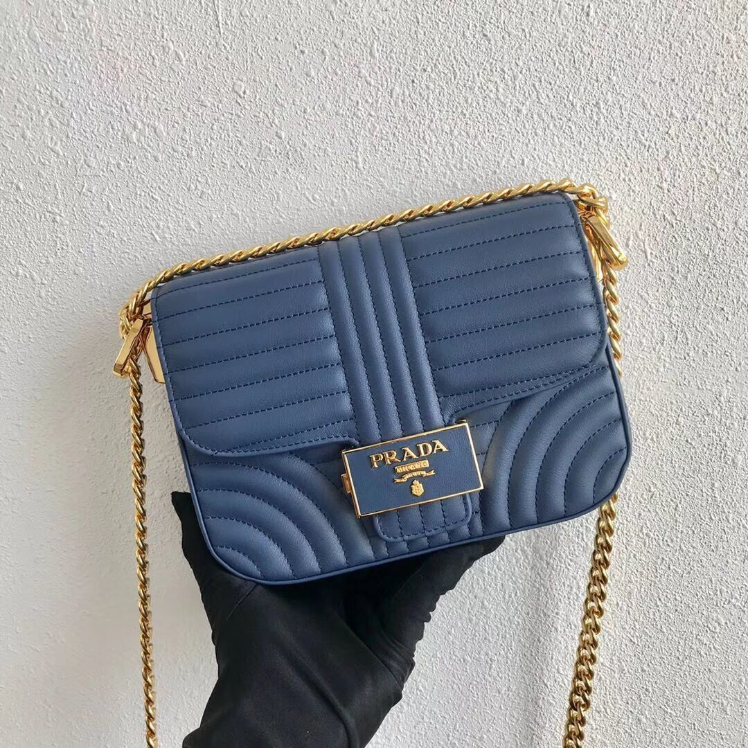 Prada Diagramme leather shoulder bag 1BD217 blue