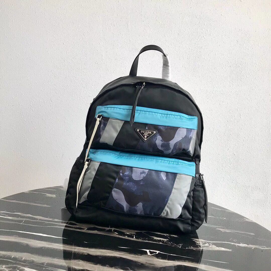 Prada Printed technical fabric backpack 2VZ025 black&blue