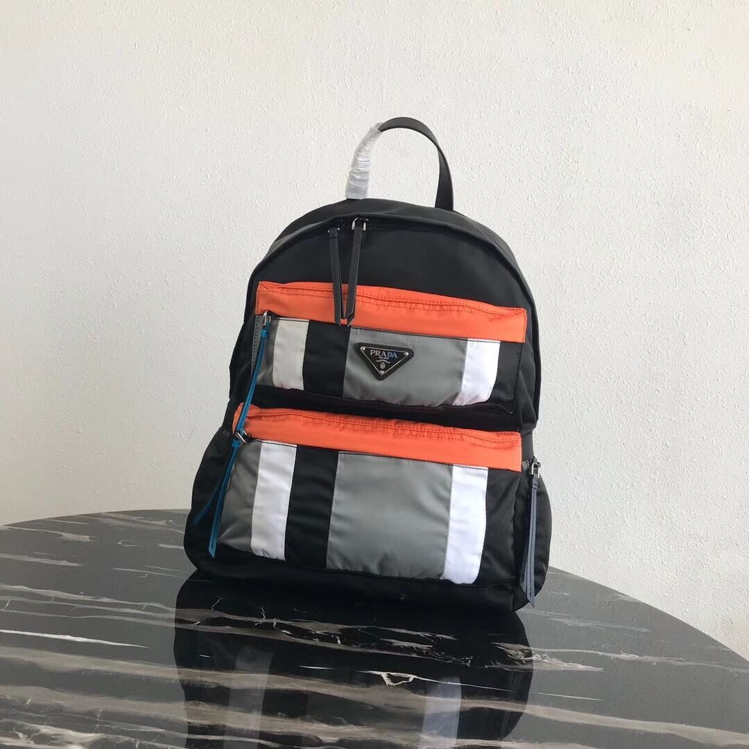 Prada Printed technical fabric backpack 2VZ025 black&orange