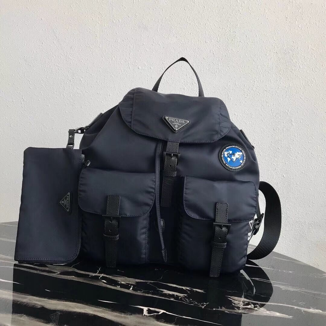 Prada Re-Nylon backpack 1BZ811 black&blue