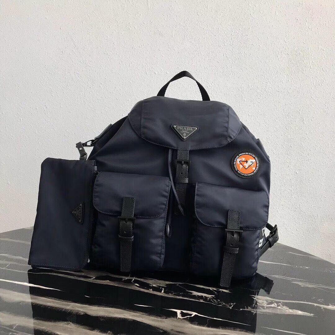 Prada Re-Nylon backpack 1BZ811 black&orange