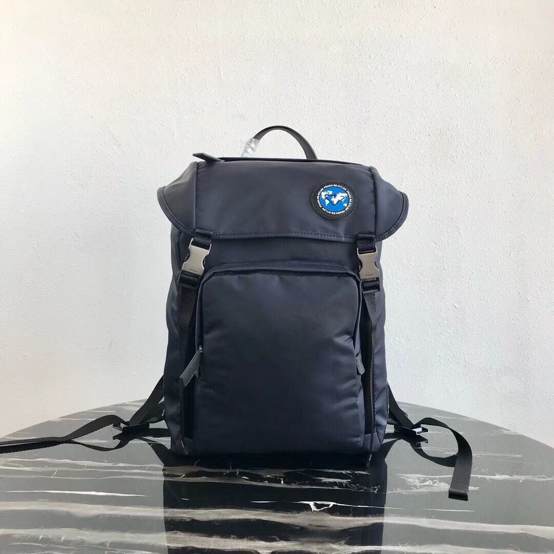Prada Re-Nylon backpack 2VZ135 black&blue