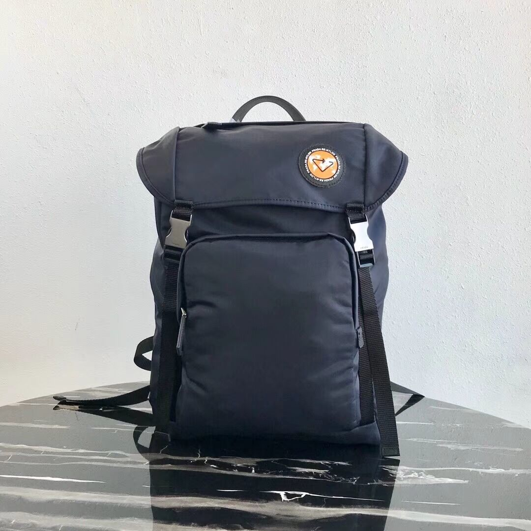 Prada Re-Nylon backpack 2VZ135 black&orange