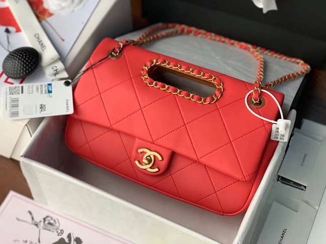 Chanel Flap Bag Original Sheepskin Leather AS1466 red