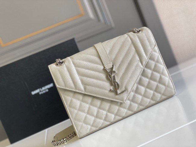 Yves Saint Laurent Calfskin Leather 487206 white&Ancient silver